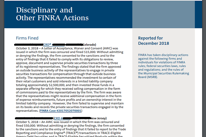 Financialish — FINRA Reports Disciplinary Actions Against 11 Firms